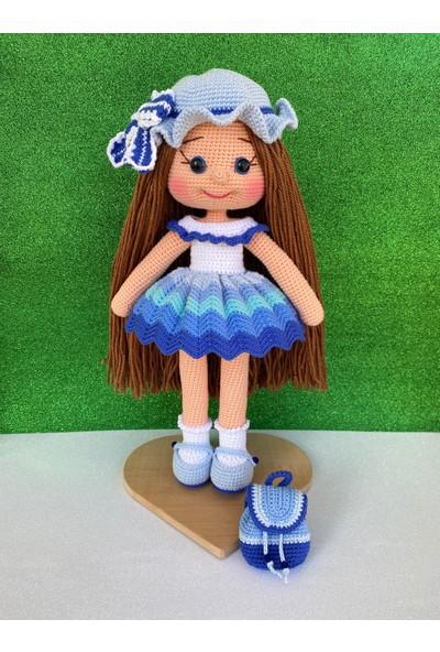 Simay Store Amigurumi Organik Örgü Oyuncak Mavi Şapkalı Örgü Bebek 35 cm