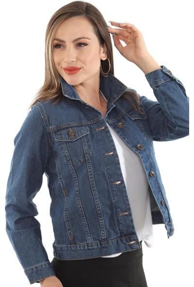 1moda1tarz Kadın Mavi Uzun Kollu Cep Detaylı Kot Ceket