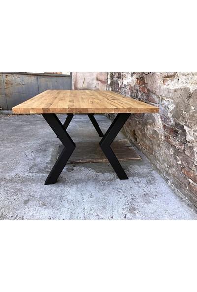 Yemek Masası Doğal Ahşaplı Yemek Masası Mutfak Masası Modeli Metal Ayaklı Ahşap Masa