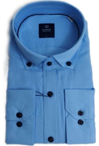 Kamer Açık Mavi Pamuklu Cepli Yaka Düğmeli Uzun Kollu Klasik Erkek Gömlek