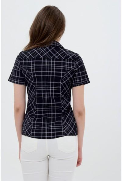Sima Kadın Siyah Kısa Kol Siyah Kareli Bayan Gömlek 2550-2-007