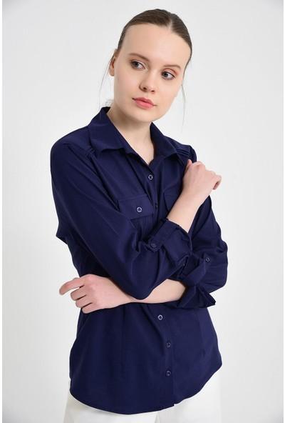 Sima Kadın Lacivert Çift Çepli Gömlek