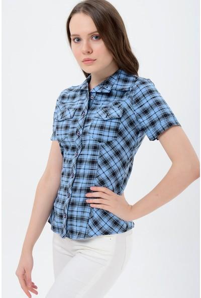 Sima Kadın Mavi Kareli Kısa Kol Gömlek