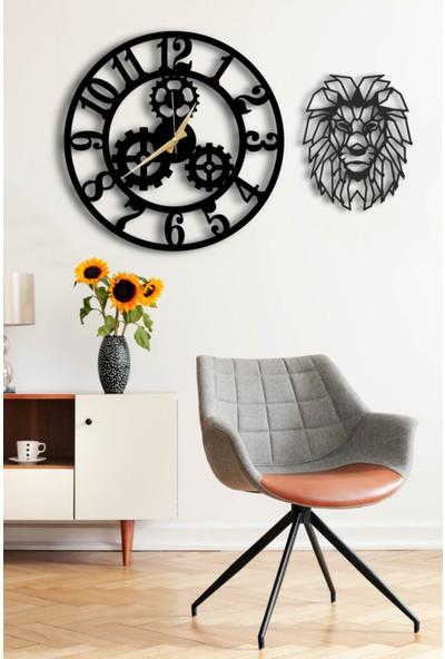 Hayveys Dekoratif Siyah Duvar Saati 50X50CM + Aslan Tablo