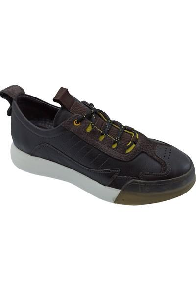 James Franco Kahverengi Deri Erkek Sneaker Ayakkabı