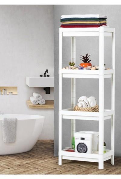 Asya Beyaz Mutfak Banyo Raf Ünitesi 4 Katlı Plastik Çiçeklik Köşe Rafı