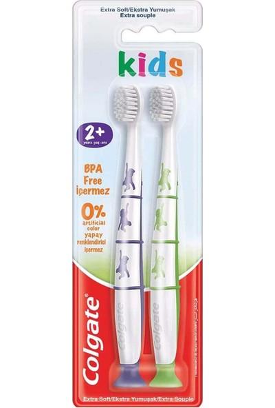 Colgate Kids 2+ Yaş Yapışkan Tabanlı Çocuk Diş Fırçası 2'li Extra Soft Kadın