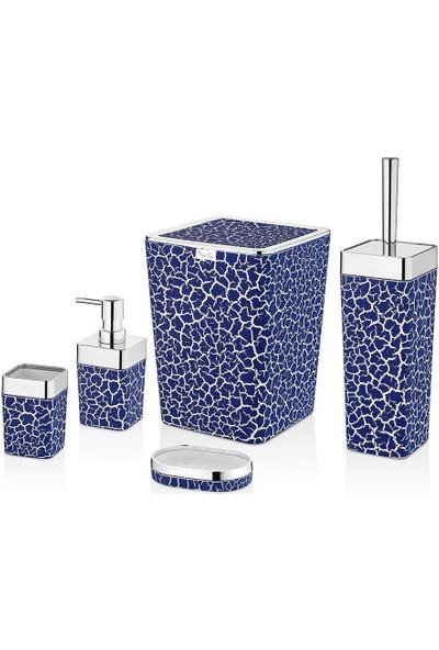 Kadı Kızı Stoneart 5 Parça Banyo Seti Mavi