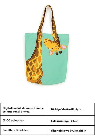 Ecrou Zürafa Desenli Plaj Çantası