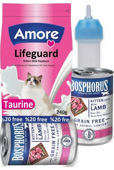 Lifeguard Yavru Kedi Süt Tozu 240gr + Biberon + Kitten Konserve 2x415gr