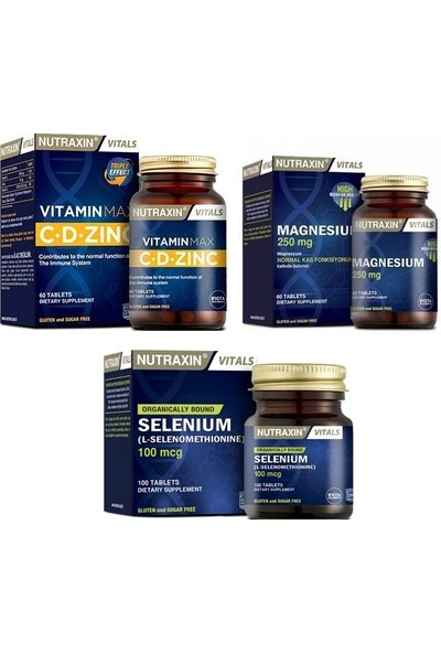 Magnesıum 250 Mg 60 Tablet+Vitamin Max 60 Tablet+Selenıum 100 Mcg 100 Tablet