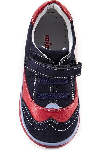 Minipicco Laci-Kırmızı-Sax Deri Destekli Ilk Adım Ayakkabı