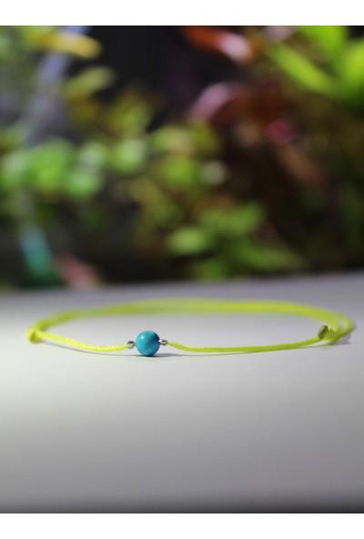 Turkuaz / Turquoise Minimal Doğal Taşlı Ip Tasarım Gümüş Kaplama Halhal
