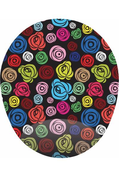 Mağaza Depom Renkli Güller Görselli - Bilek Destekli Gül Desenli - Oval Mo