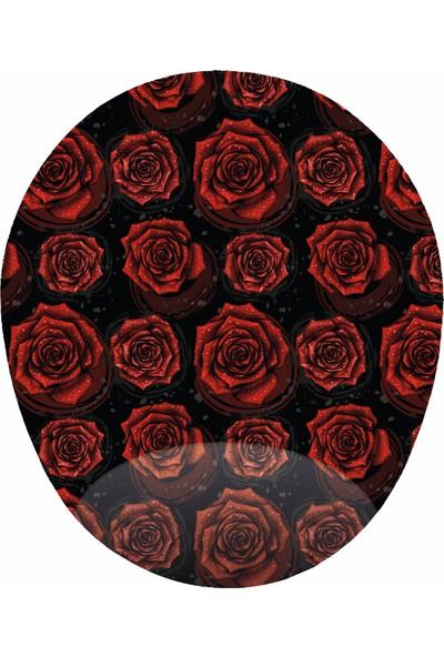 Mağaza Depom Kırmızı Güller - Bilek Destekli Gül Desenli Oval Mousepad