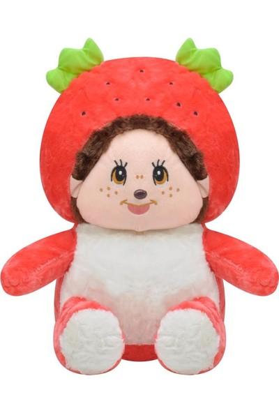 Selay Toys Peluş Çilek Kız Bebek Oyuncak 35 cm Kırmızı 3466