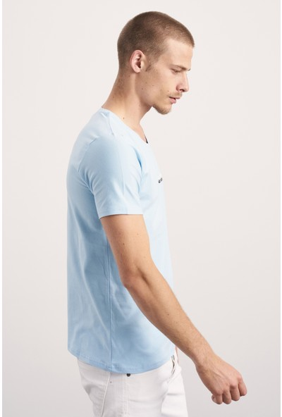 Tarz Cool Erkek Mavi Regular Fit Modelli T-SHIRT-JSPRTR05S