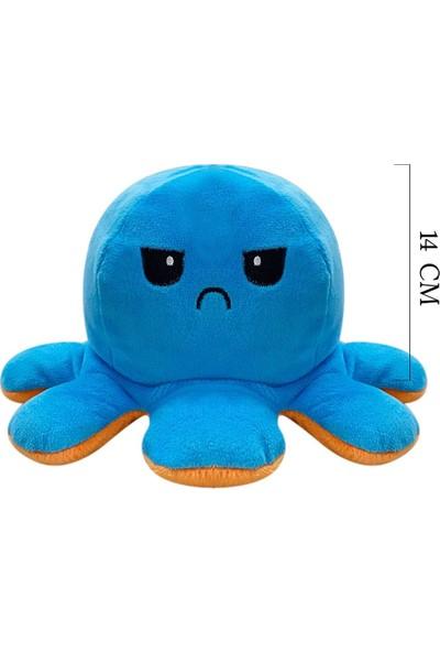 Selay Toys Peluş Duygulu Ahtapot Oyuncak 14 cm Mavi 2078