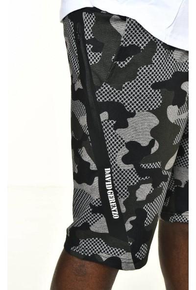 David&Gerenzo Siyah Kamuflaj Desen Logo Aksesuarlı Şort