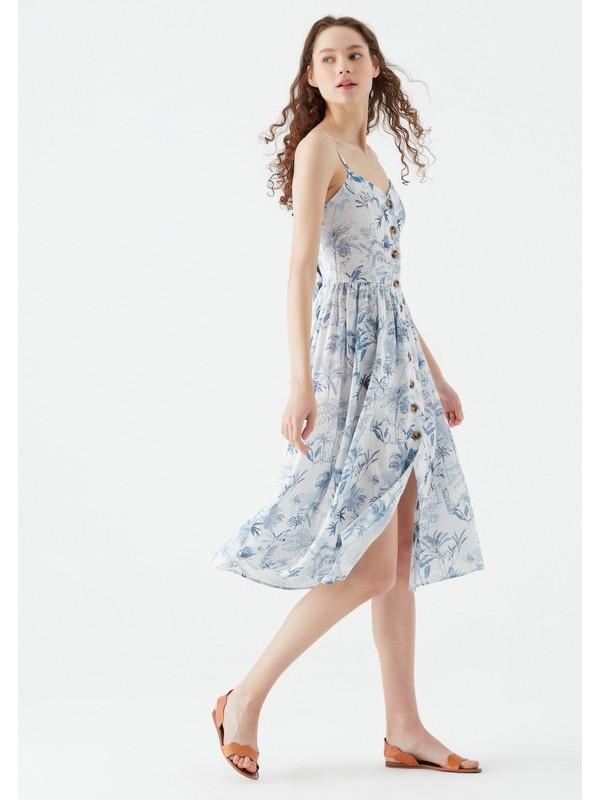 Mavi Kadın Çiçek Baskılı Mavi Elbise 130869-33921