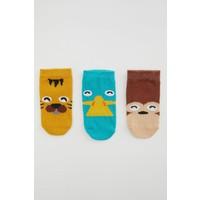 DeFacto Erkek Bebek Desenli 3'lü Soket Çorap