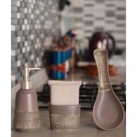 Acar Plus Seramik 3'lü Mutfak Seti - Kahverengi