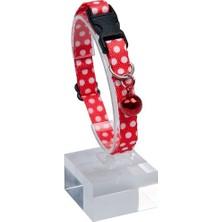 Pet Tag Art Desenli Zilli Ayarlanabilir Boyun Tasması 22-30 cm Kırmızı