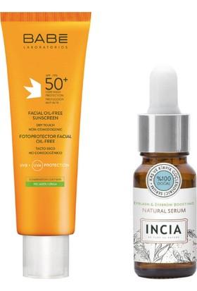 Yüz Için Yağsız Güneş Kremi SPF50+ 50 ml +Incia Kaş & Kirpik Serum 10 ml