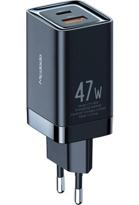 Mcdodo Gan CH-8581 47W Type C ve USB Girişli Hızlı Şarj Adaptörü Siyah