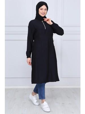 İlmek Moda Kadın Siyah Yakası Fermuarlı Cepli Tunik 5294