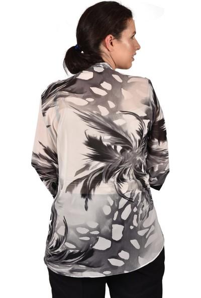Ultimod Siyah Desenli Şifon Büyük Beden Kadın Bluz ULT3293