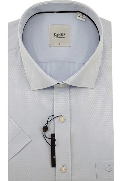 Kamer Erkek Kısa Kol Mavi Gömlek %60 Pamuk %40 Polyester Kısakol 8925MA