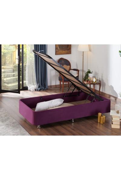 Niron Yatak Niron Purple Baza - 80X180 cm Tek Kişilik Sandıklı Mor Kumaş Baza Silinebilir Soho Kumaş