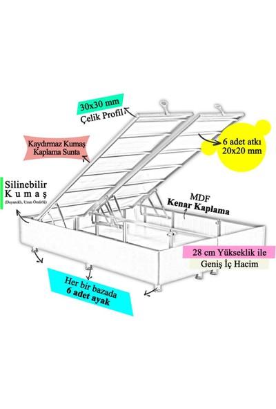 Niron Yatak Niron Silver Baza ve Başlık Seti 140X190 cm Çift Kişilik Kaydırmaz Kumaşlı Gri Keten Baza ve Başlığı