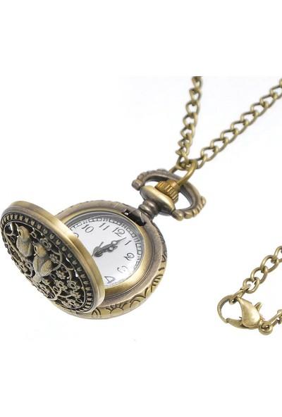 Hediye Sahibi Daldaki Kuş Görünümlü Küçük Boy Köstekli Saat Kolye