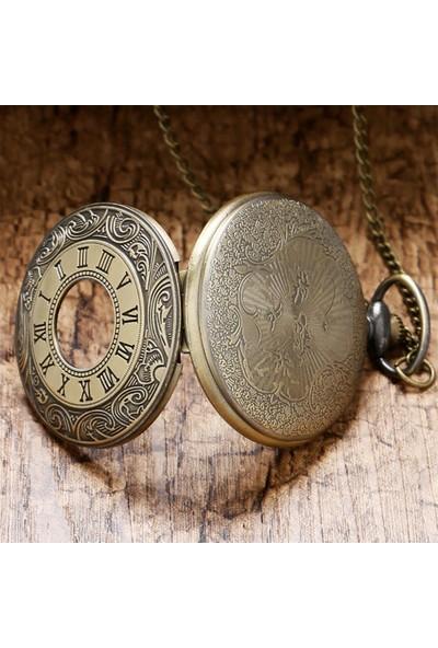 Hediye Sahibi Roma Rakam Görünümlü Büyük Boy Köstekli Saat Kolye