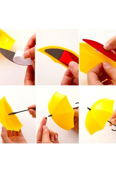 Fer Home Dekoratif Şemsiye Askı 4'lü Set Yapışkanlı Pratik Takı Anahtar Askılığı Anahtarlık Askısı