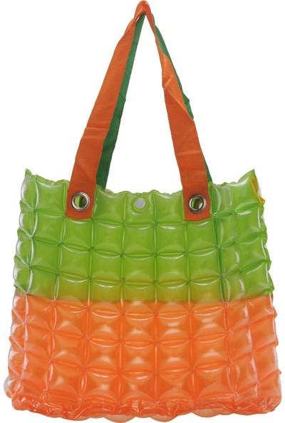 Trend Kadın Plaj Çantası Turuncu Yeşil Şişme Omuz Çanta BR03