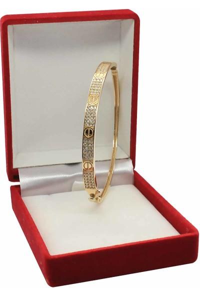 Cigold 14 Ayar Taşlı Cartier Kelepçe 60K1KLP0771025434