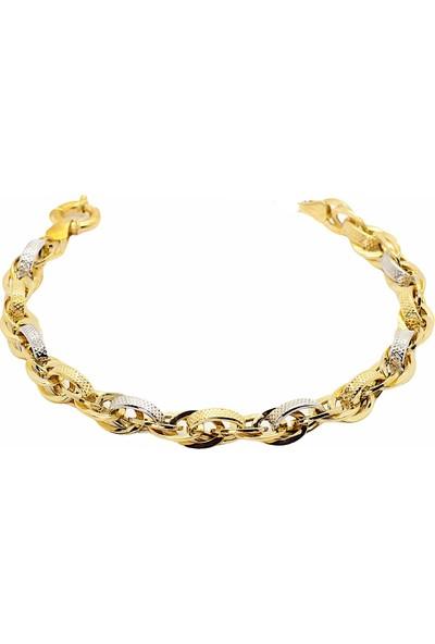 Cigold Cigold 14 Ayar Altın Taşsız Bileklik 20K2BLK0858015854