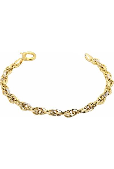 Cigold Cigold 14 Ayar Altın Taşsız Bileklik 20K2BLK0622015856