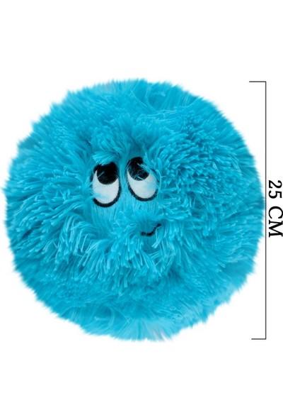 Selay Toys Peluş Emoji Yastık Flausy Puf Yastık 25 cm. Mavi 1003