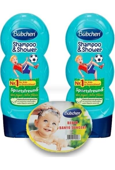Bübchen Sport Çocuk Şampuanı ve Duş Jeli 230 ml 2 Li + Sünger