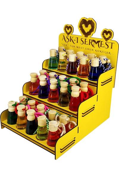 Aşk-I Sermest Sarı Ahşap Standlı 90 Adet 8 ml Aşk'ın Şarabı Kokulu Araç Parfümü