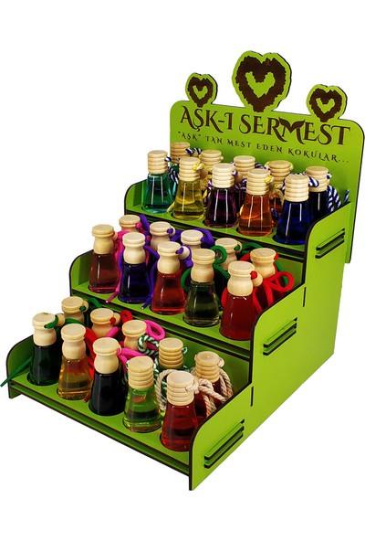 Aşk-I Sermest Yeşil Ahşap Standlı 30 Adet 12 ml Mango & Kavun Kokulu Araç Parfümü