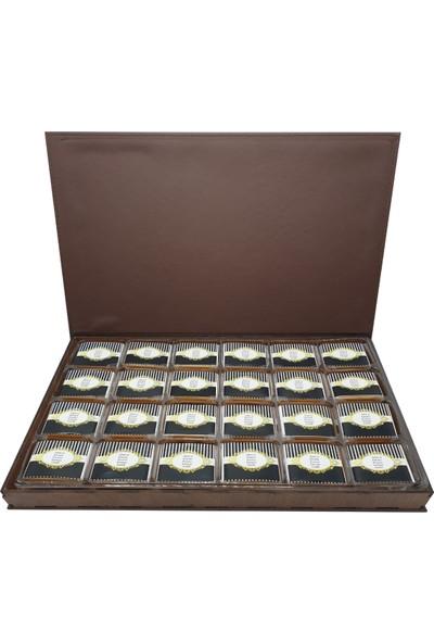 Asırlık 1453 Kişiye Özel Kız Isteme Çikolatası - Ahşap & Deri Kutu ( 48 Ad ) Kahverengi