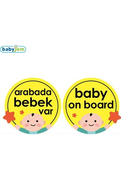 Babyjem Araba Cam Yazısı Dikkat Bebek Var Sarı