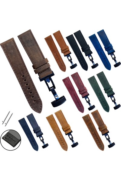 Armani Saat Uyumlu 22MM Bordo Renk Akıllı Pimli Lacivert Renk Çelik Klipsli Crazy Hakiki Deri Saat Kordonu Kayışı