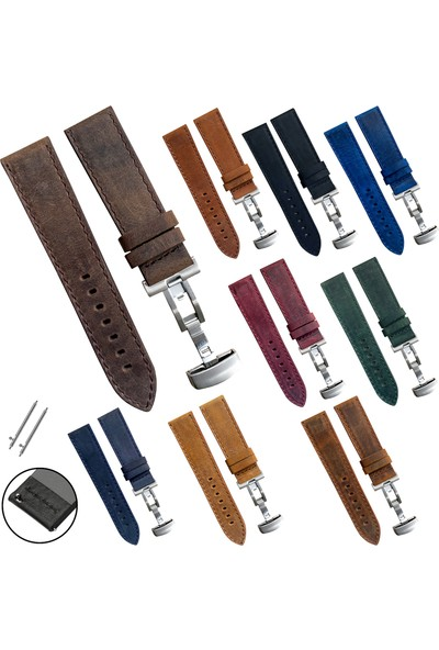 Esprit Saat Uyumlu 22MM Bordo Renk Akıllı Pimli Gümüş Renk Çelik Klipsli Crazy Hakiki Deri Saat Kordonu Kayışı