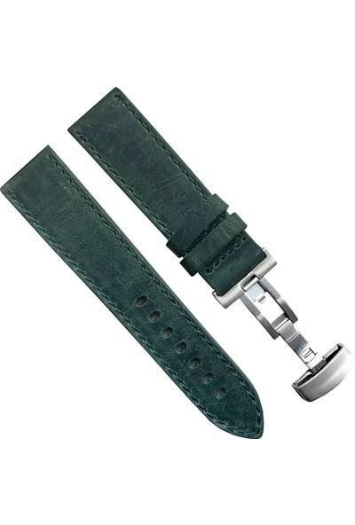 Seiko Saat Uyumlu 24MM Yeşil Renk Akıllı Pimli Gümüş Renk Çelik Klipsli Crazy Hakiki Deri Saat Kordonu Kayışı